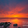 Jersey Shores Fire In The Sky Version 2 by Michael Ver Sprill