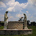 Jesus And The Woman At The Well Cemetery Statues by Kathy Clark