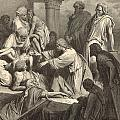 Jesus Healing The Sick by Antique Engravings