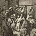 Jesus Questioning The Doctors by Antique Engravings