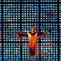 Jesus Sculpture And Blue Glass Background by Stephan Pietzko