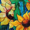 Jeweled Sassy Sunflowers by Francine Dufour Jones