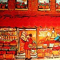 Jewish Culture In Montreal Paintings Of Warshaw's Fruit Store On St.lawrence Street Scene Art  by Carole Spandau