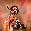 Jimi Hendrix Electrifying Guitar Play by Angela Stanton