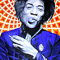 Jimi Hendrix-orange And Blue by Joshua Morton