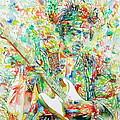 Jimi Hendrix Playing The Guitar Portrait.1 by Fabrizio Cassetta