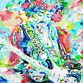 Jimi Hendrix Playing The Guitar.2 -watercolor Portrait by Fabrizio Cassetta