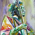 Jimi Hendrix Playing The Guitar.5 -watercolor Portrait by Fabrizio Cassetta