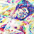 Jimi Hendrix Sleeping - Watercolor Portrait by Fabrizio Cassetta