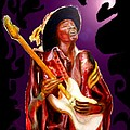 Jimi Hendrix Variations In Purple And Black by Tom Conway