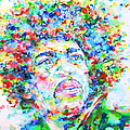 Jimi Hendrix  - Watercolor Portrait.3 by Fabrizio Cassetta