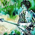 Jimi Hendrix With Guitar by Fabrizio Cassetta