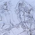 Jimmy Page And Robert Plant Live Concert-pen Portrait by Fabrizio Cassetta