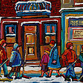 Joe Beef Restaurant And Boys With Hockey Sticks by Carole Spandau