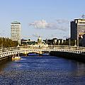 Joe Fox Fine Art - Hapenny Liffey Bridge Over The River Liffey In Central Dublin Ireland by Joe Fox