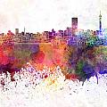 Johannesburg Skyline In Watercolor Background by Pablo Romero