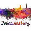 Johannesburg Skyline In Watercolor by Pablo Romero