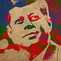 John F Kennedy Jfk Watercolor Portrait On Worn Distressed Canvas by Design Turnpike