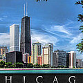 John Hancock Chicago Skyline Panorama Poster by Christopher Arndt