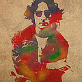 John Lennon Watercolor Portrait On Worn Distressed Canvas