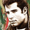 John Travolta - Stylised Drawing Art Poster by Kim Wang