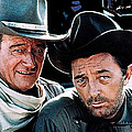 John Wayne And Robert Mitchum El Dorado 1967 Publicity Photo Old Tucson Arizona 1967-2012 by David Lee Guss