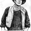 John Wayne Art Drawing Sketch Portrait by Kim Wang