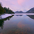 Jordan Pond Winter Reflections by Stephen  Vecchiotti