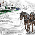 Journeys On The Canal - Canal Boat Print Color Tinted by Kelli Swan