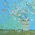 Joyful Daisies, Flowers, Modern Impressionistic Art Palette Knife Oil Painting by Patricia Awapara