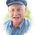 Joyful Grandfather Watercolor Portrait  by Mike Theuer