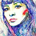 Juliette Greco - Colored Pens Portrait by Fabrizio Cassetta