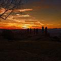 Jump Off Rock Sunset Silhouettes by John Haldane