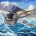 Jumping Sailfish And Small Fish by Terry Fox
