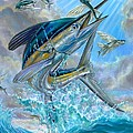 Jumping White Marlin And Flying Fish by Terry Fox