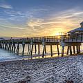 Juno Beach Pier At Dawn by Debra and Dave Vanderlaan