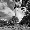Jupiter Inler Lighthouse In Black And White by Jennifer Lavigne