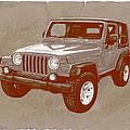Justjeepn's 2005 Jeep Wrangler Rubicon Car Art Sketch Poster by Kim Wang