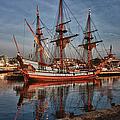 Kalmar Nyckel At Anchor In Salem Ma by Jeff Folger