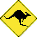 Kangaroo Crossing Sign by Marvin Blaine