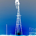 Kansas Country Windmill Inverted Negative Sunset by Robert D  Brozek