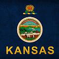 Kansas State Flag Art On Worn Canvas by Design Turnpike
