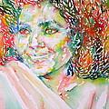 Kathleen Battle - Watercolor Portrait by Fabrizio Cassetta