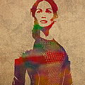 Katniss Everdeen From Hunger Games Jennifer Lawrence Watercolor Portrait On Worn Parchment by Design Turnpike