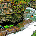 Kayakers In Maligne Canyon In Jasper Np-alberta by Ruth Hager