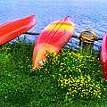 Kayaks At Lake Galena by Carolyn Derstine