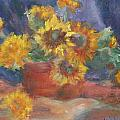 Keep On The Sunny Side - Original Contemporary Impressionist Painting - Sunflower Bouquet by Quin Sweetman