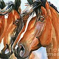 Horse Painting Keeping Watch by Maria's Watercolor