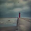 Kenosha North Pier Lighthouse - Dark And Stormy by Martin Belan