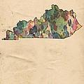 Kentucky Map Vintage Watercolor by Florian Rodarte